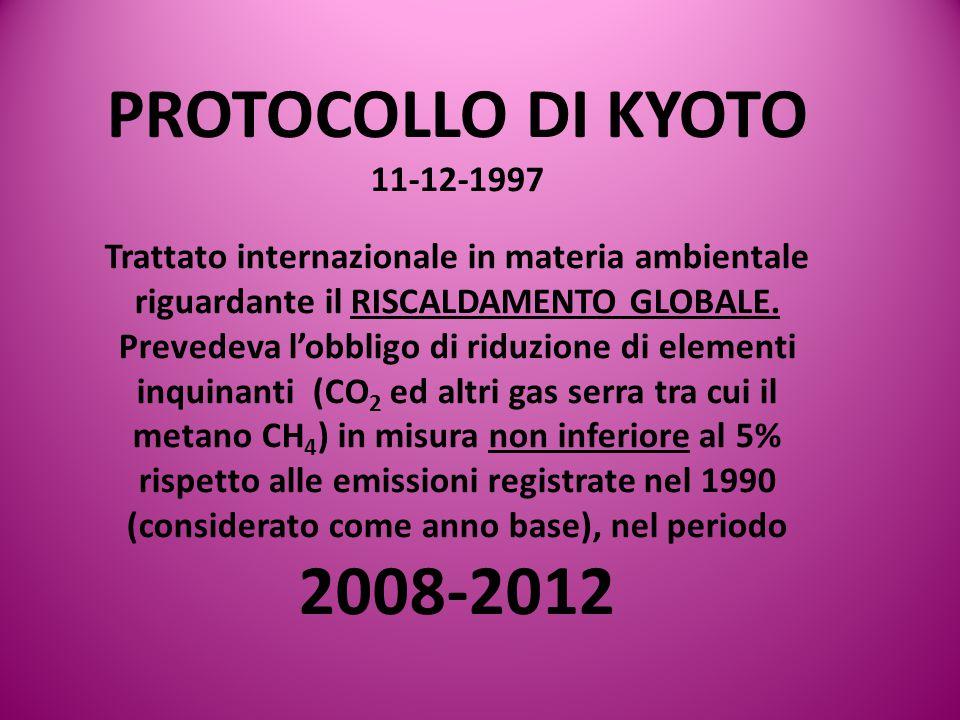 PROTOCOLLO DI KYOTO 11-12-1997. Trattato internazionale in materia ambientale riguardante il RISCALDAMENTO GLOBALE.