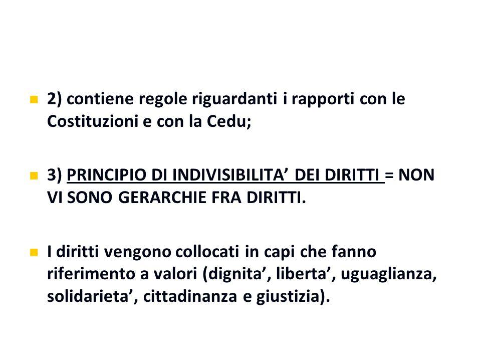 2) contiene regole riguardanti i rapporti con le Costituzioni e con la Cedu;