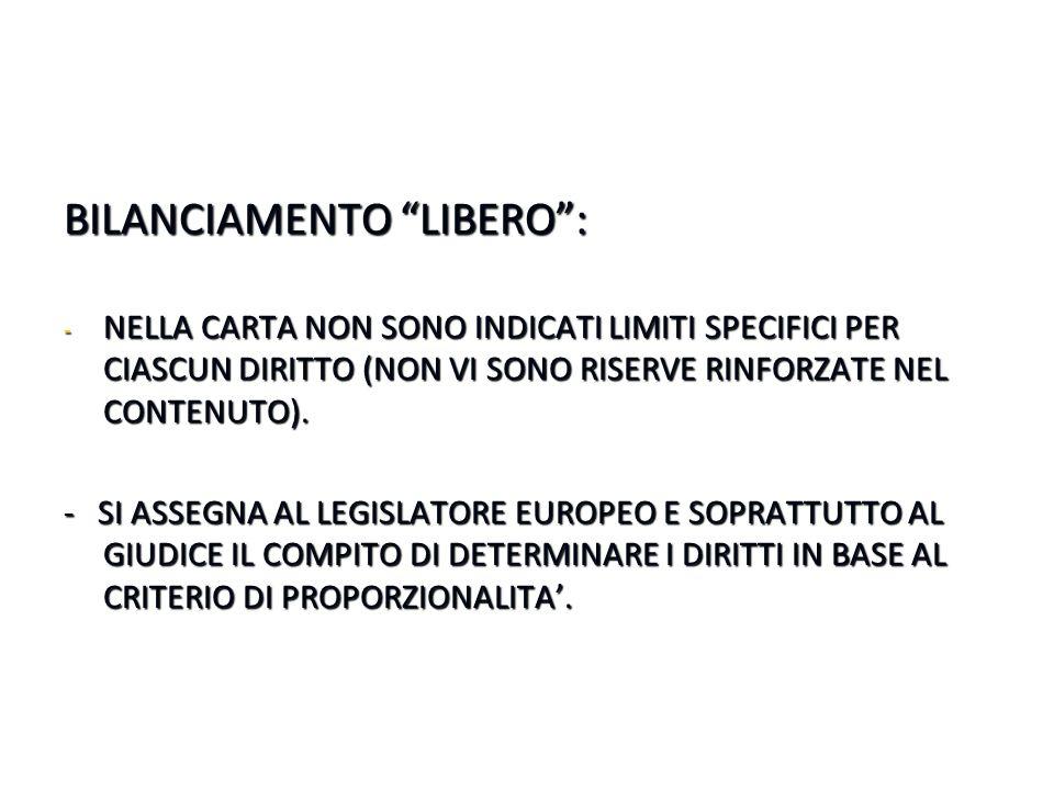 BILANCIAMENTO LIBERO :