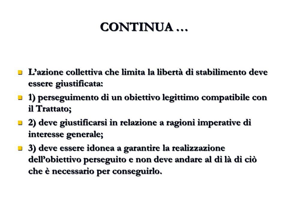 CONTINUA … L'azione collettiva che limita la libertà di stabilimento deve essere giustificata: