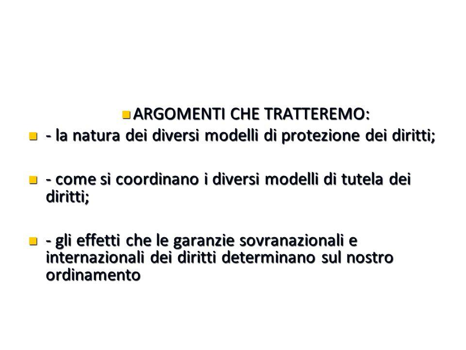 ARGOMENTI CHE TRATTEREMO: