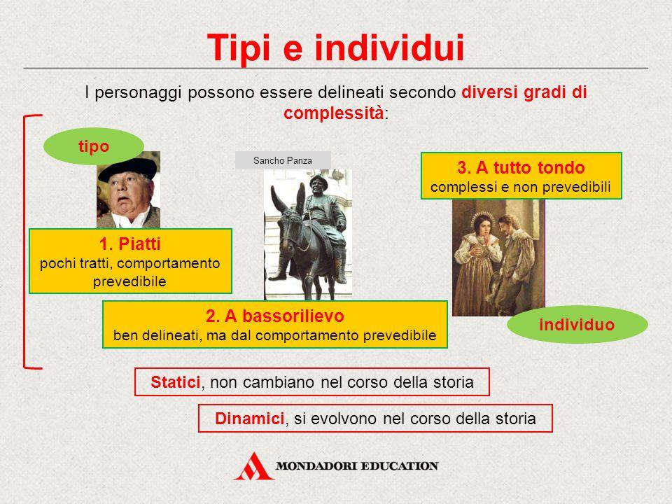 Tipi e individui I personaggi possono essere delineati secondo diversi gradi di complessità: 1. Piatti.