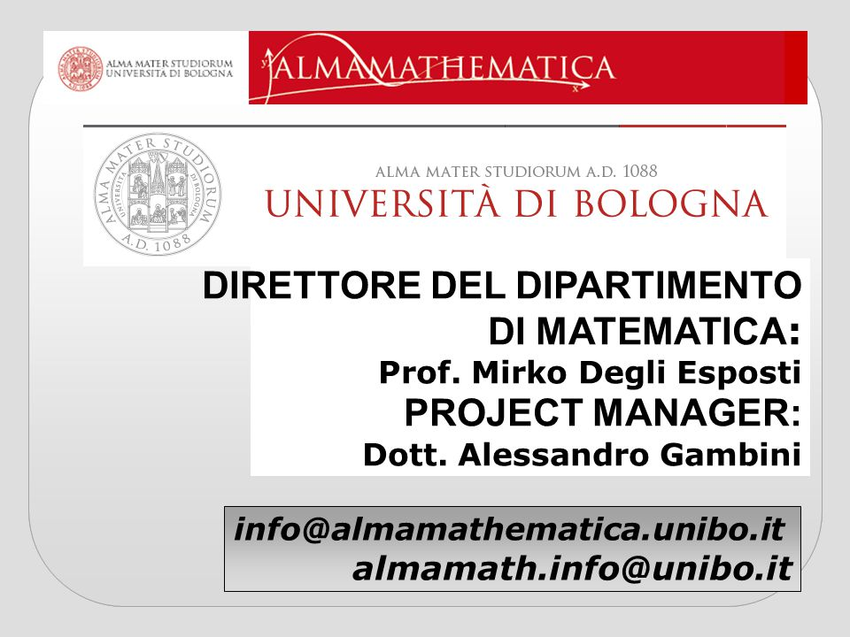 DIRETTORE DEL DIPARTIMENTO DI MATEMATICA: PROJECT MANAGER: