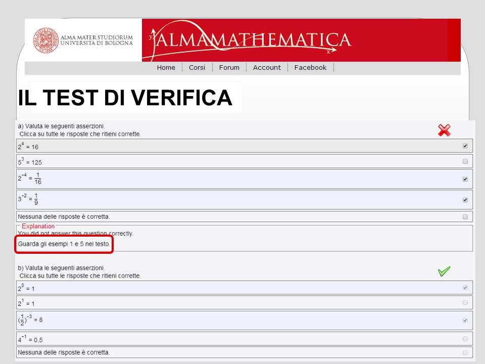 IL TEST DI VERIFICA
