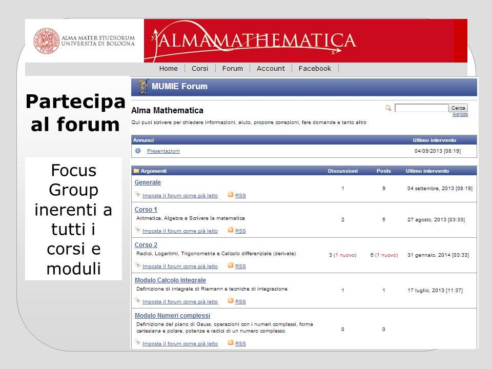 Focus Group inerenti a tutti i corsi e moduli