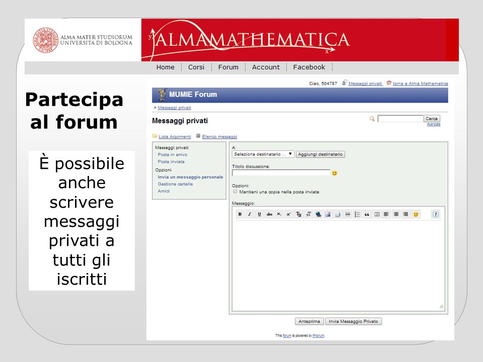 È possibile anche scrivere messaggi privati a tutti gli iscritti