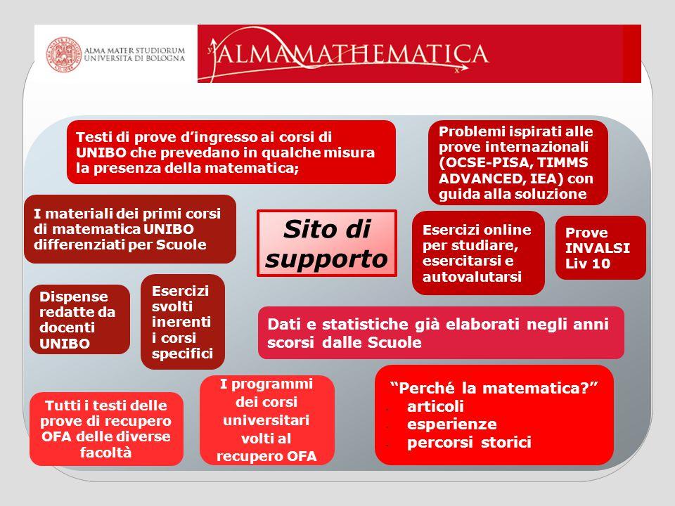 Testi di prove d'ingresso ai corsi di UNIBO che prevedano in qualche misura la presenza della matematica;