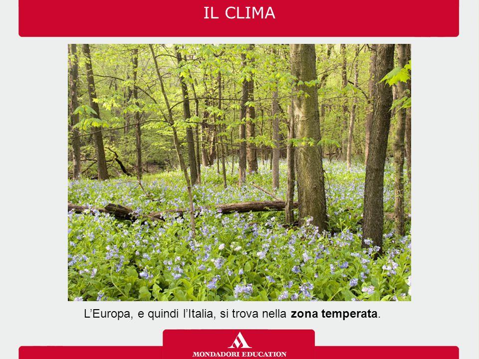 IL CLIMA L'Europa, e quindi l'Italia, si trova nella zona temperata.