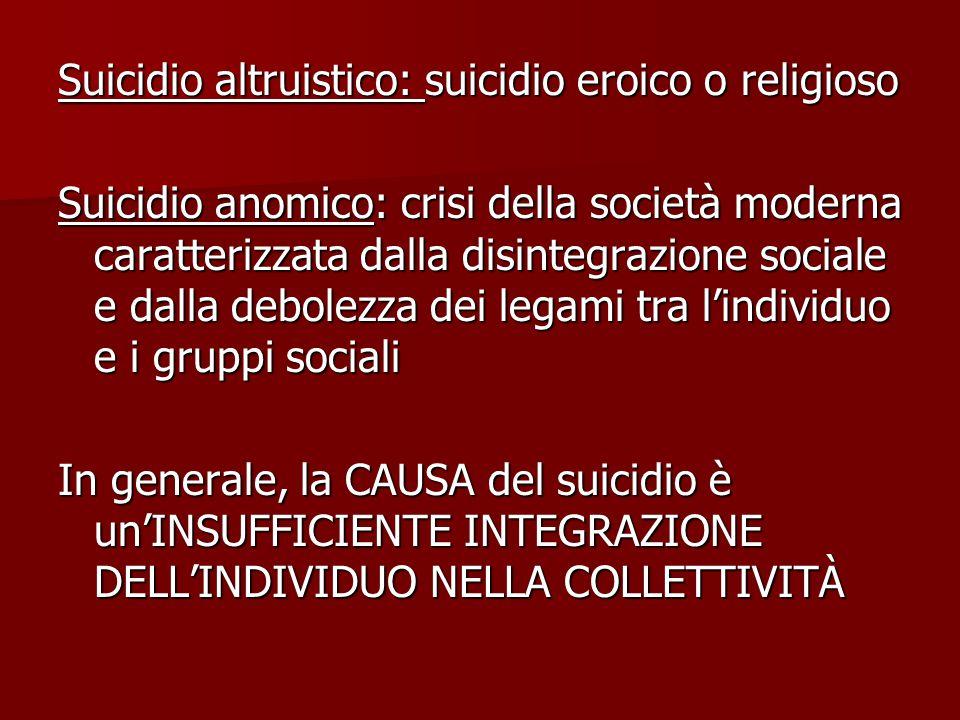 Suicidio altruistico: suicidio eroico o religioso