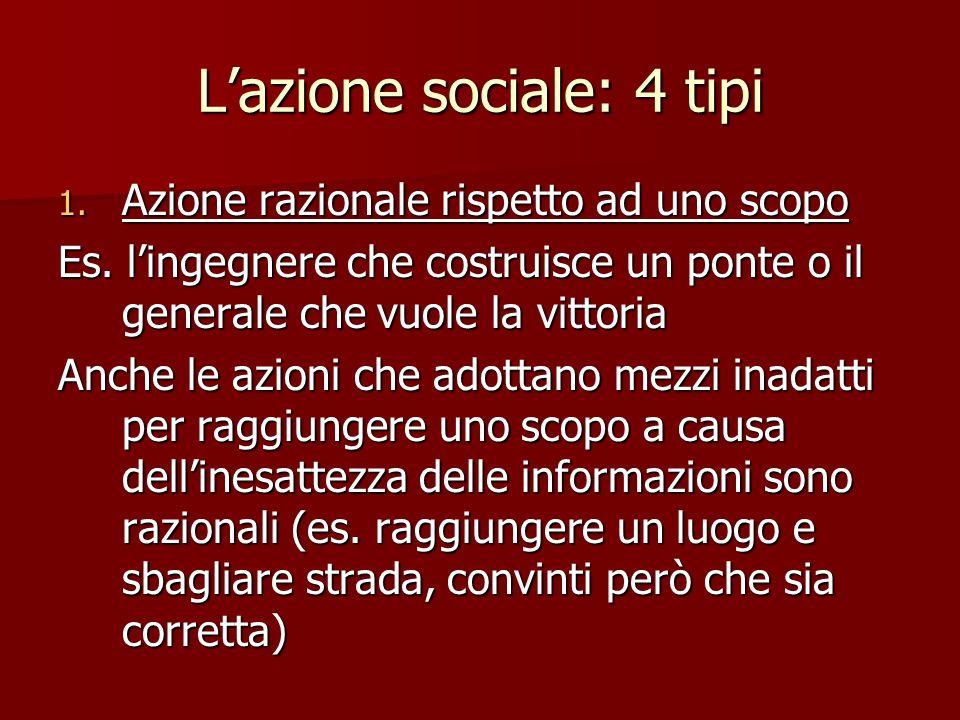 L'azione sociale: 4 tipi