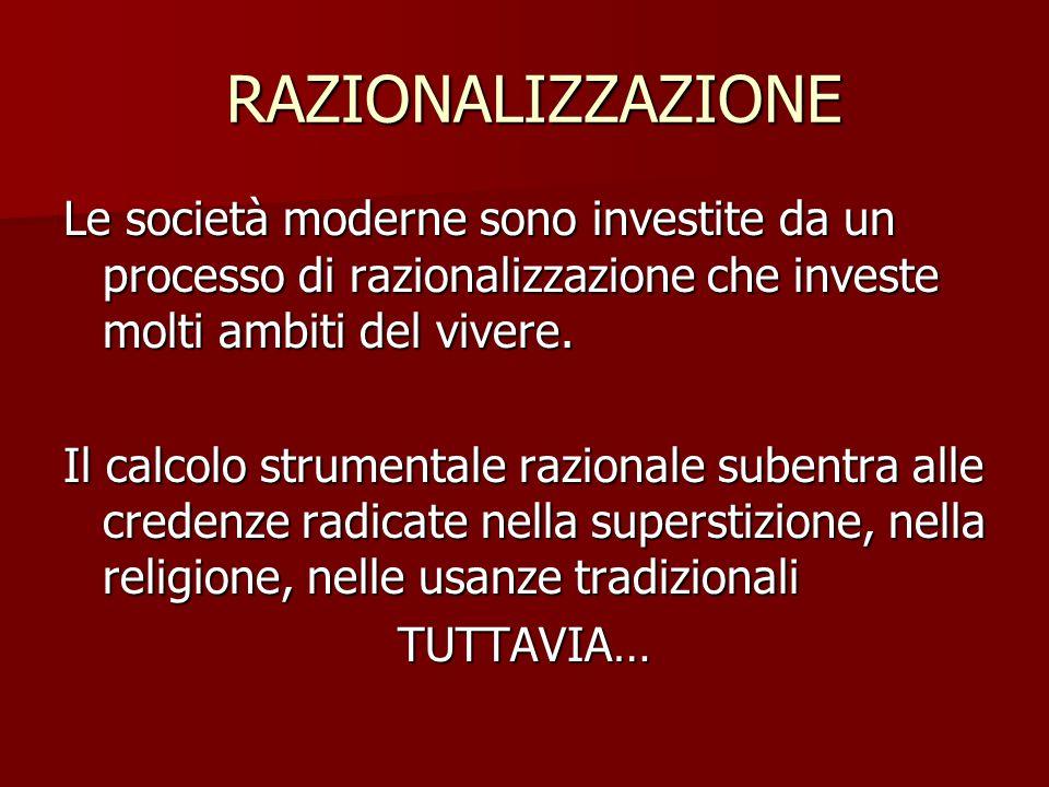 RAZIONALIZZAZIONE Le società moderne sono investite da un processo di razionalizzazione che investe molti ambiti del vivere.