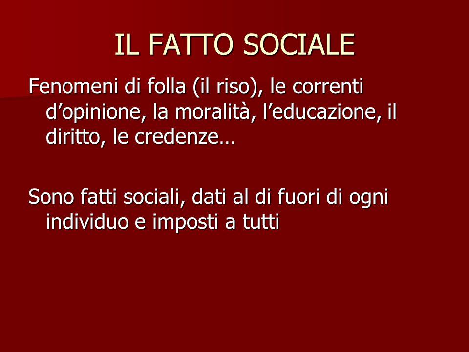 IL FATTO SOCIALE Fenomeni di folla (il riso), le correnti d'opinione, la moralità, l'educazione, il diritto, le credenze…
