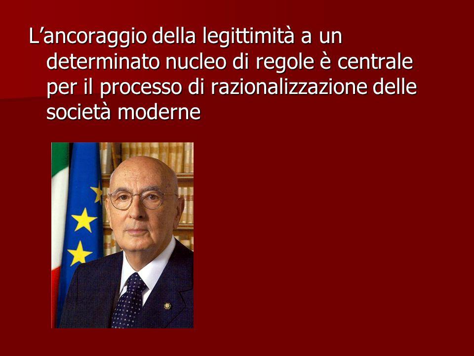 L'ancoraggio della legittimità a un determinato nucleo di regole è centrale per il processo di razionalizzazione delle società moderne