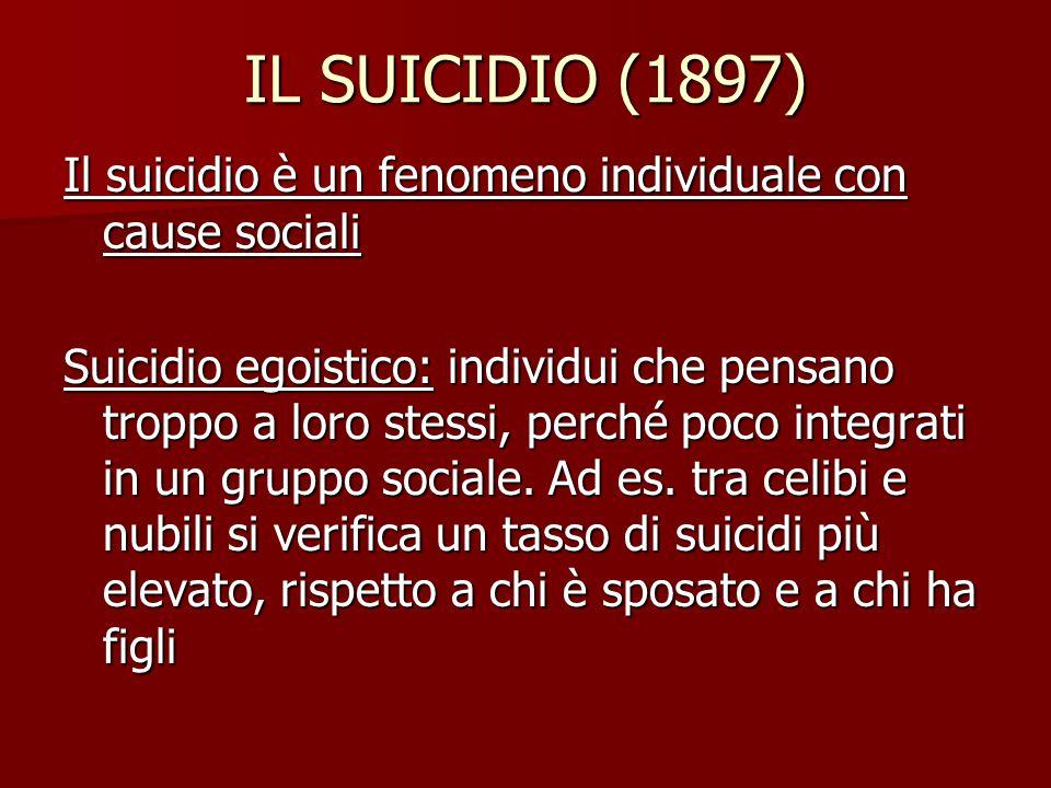 IL SUICIDIO (1897) Il suicidio è un fenomeno individuale con cause sociali.