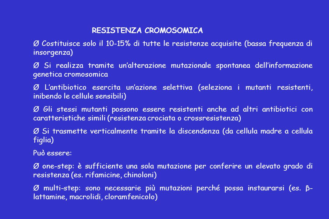 RESISTENZA CROMOSOMICA