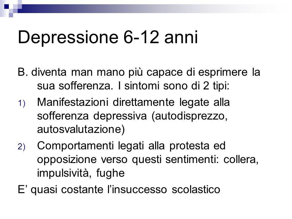 Depressione 6-12 anni B. diventa man mano più capace di esprimere la sua sofferenza. I sintomi sono di 2 tipi: