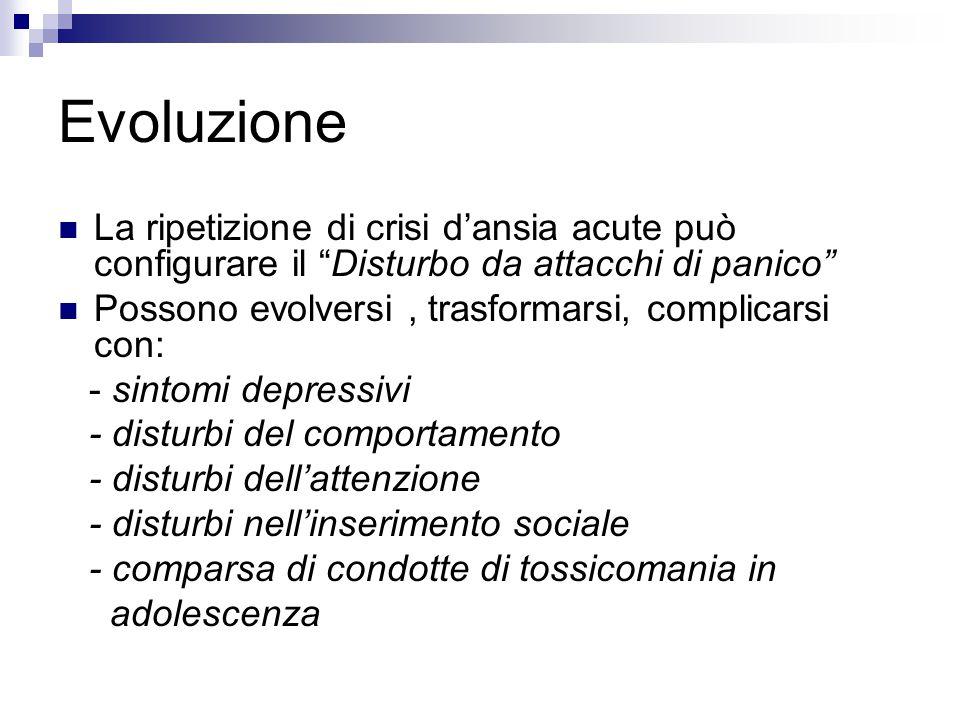 Evoluzione La ripetizione di crisi d'ansia acute può configurare il Disturbo da attacchi di panico