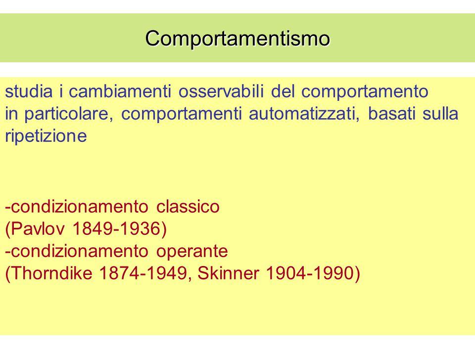 Comportamentismo studia i cambiamenti osservabili del comportamento in particolare, comportamenti automatizzati, basati sulla ripetizione.