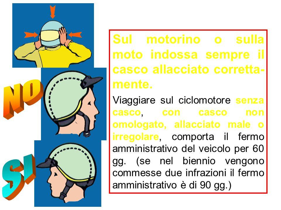 Sul motorino o sulla moto indossa sempre il casco allacciato corretta-mente.