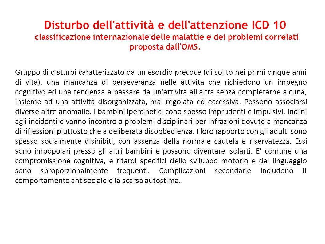 Disturbo dell attività e dell attenzione ICD 10