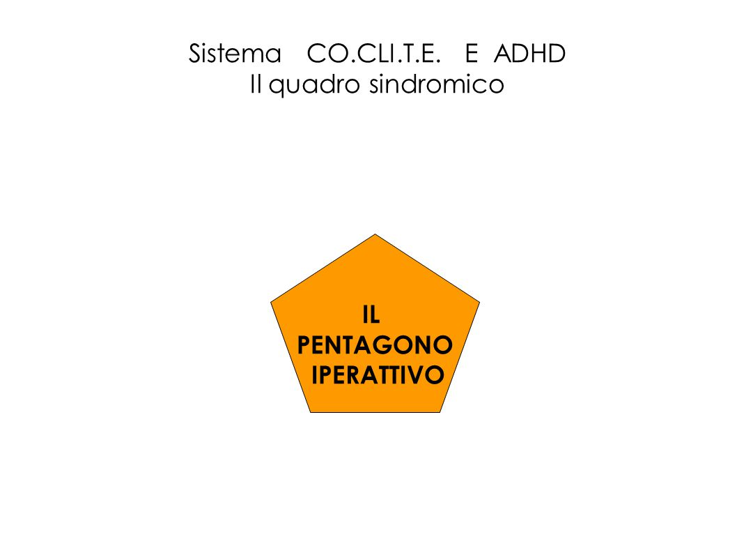 Sistema CO.CLI.T.E. E ADHD Il quadro sindromico IL PENTAGONO