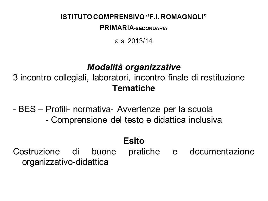 ISTITUTO COMPRENSIVO F.I. ROMAGNOLI Modalità organizzative