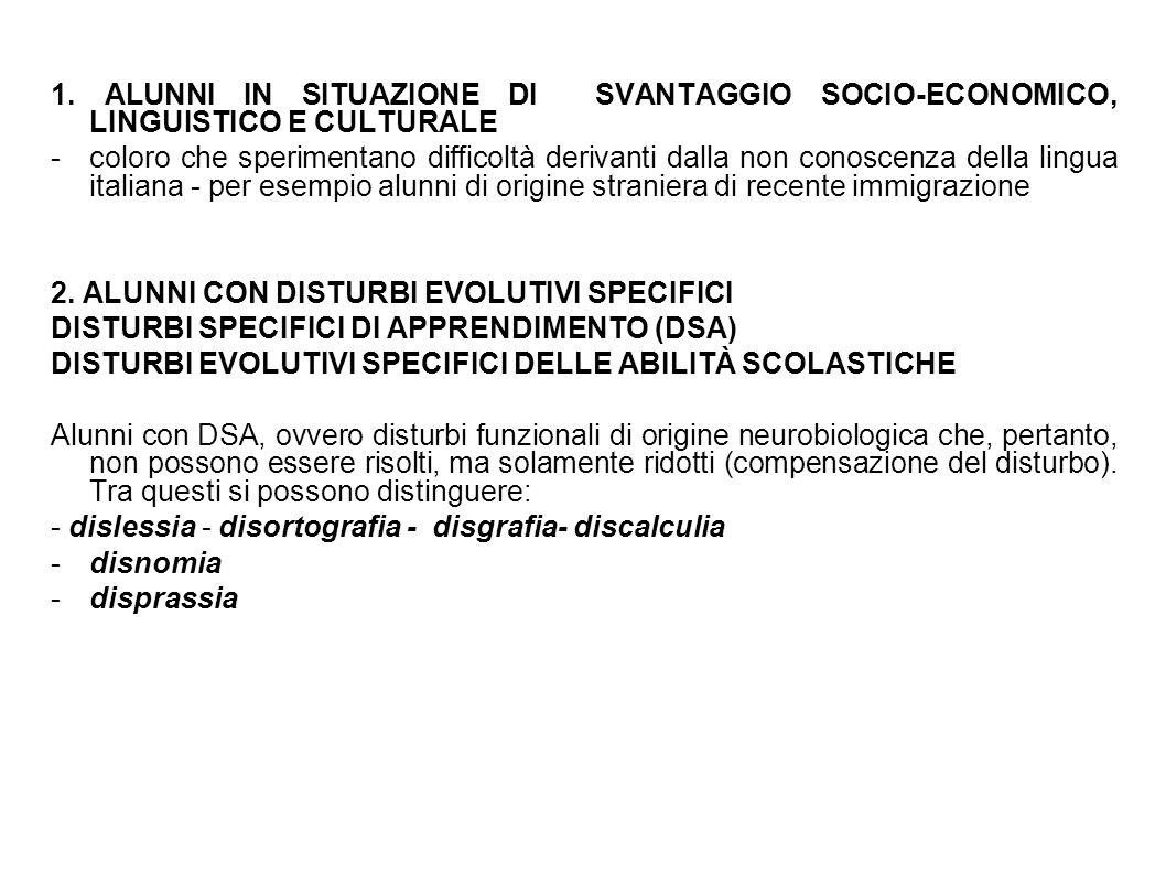 1. ALUNNI IN SITUAZIONE DI SVANTAGGIO SOCIO-ECONOMICO, LINGUISTICO E CULTURALE