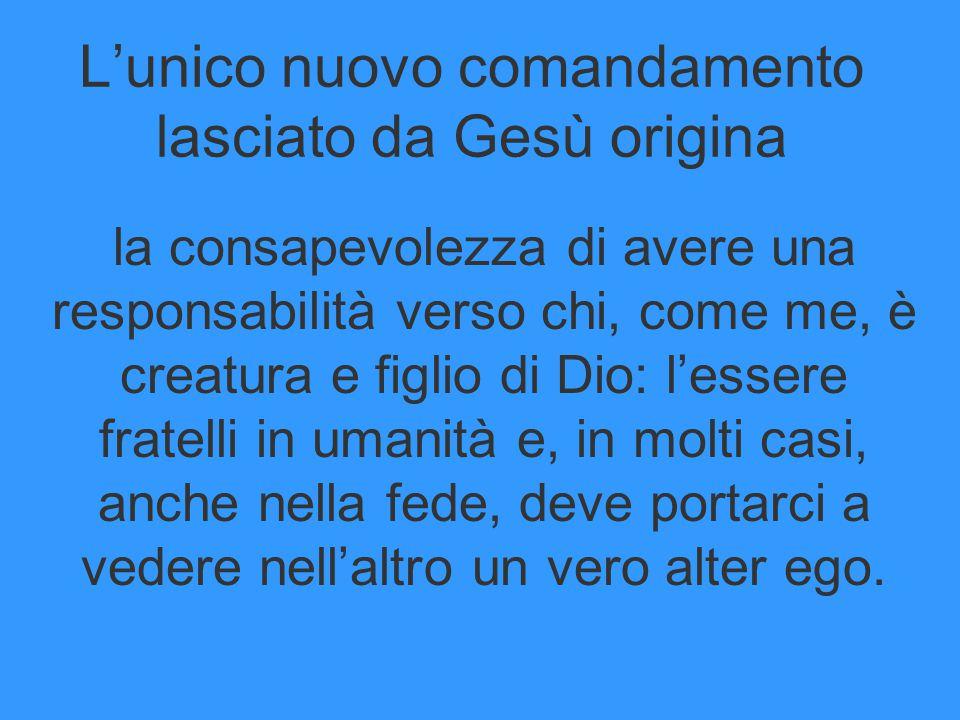 L'unico nuovo comandamento lasciato da Gesù origina