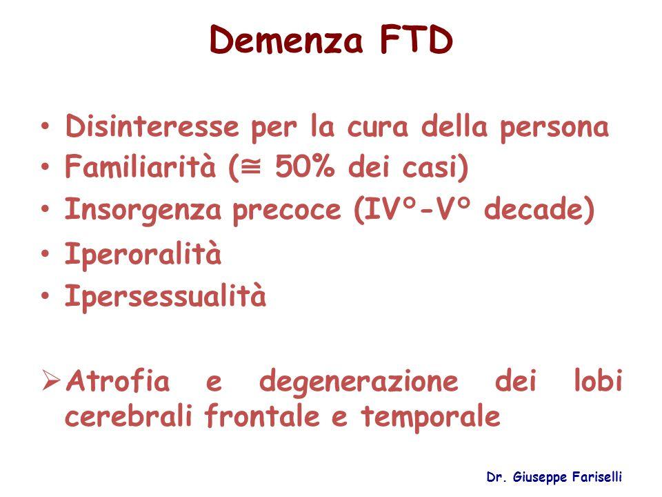 Demenza FTD Disinteresse per la cura della persona