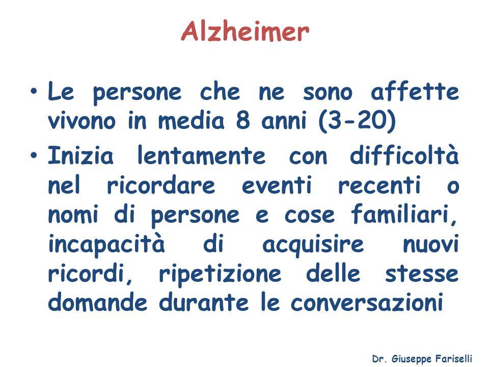 Alzheimer Le persone che ne sono affette vivono in media 8 anni (3-20)