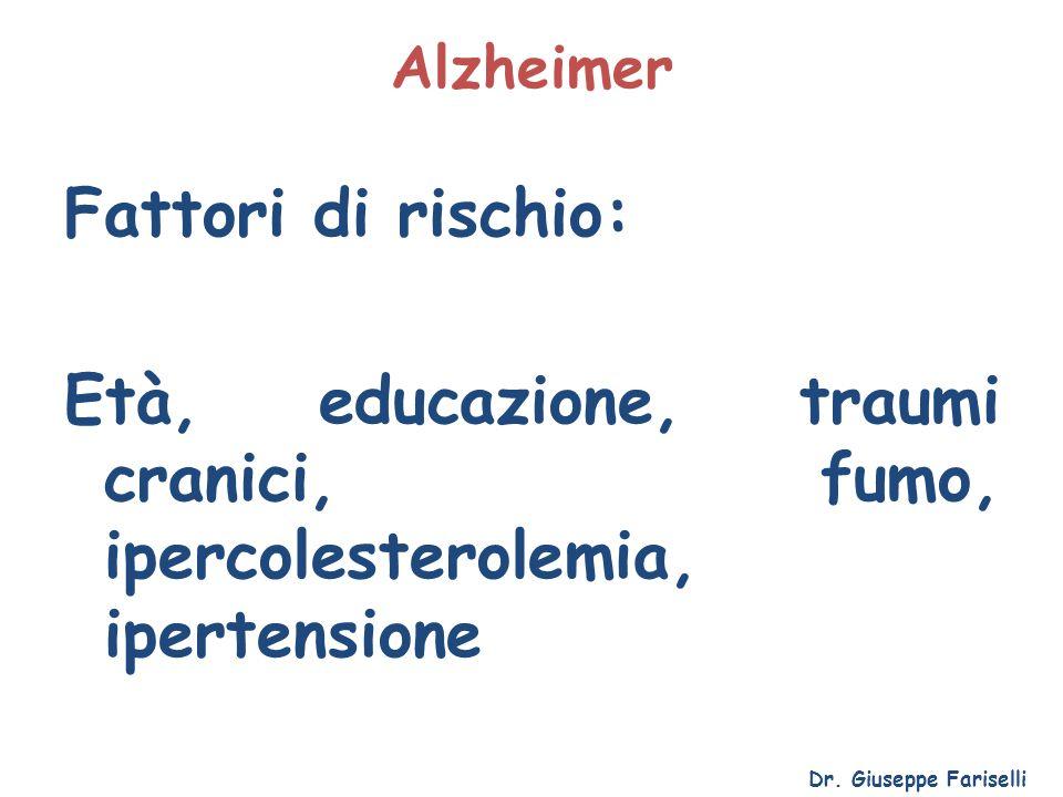 Alzheimer Fattori di rischio: Età, educazione, traumi cranici, fumo, ipercolesterolemia, ipertensione