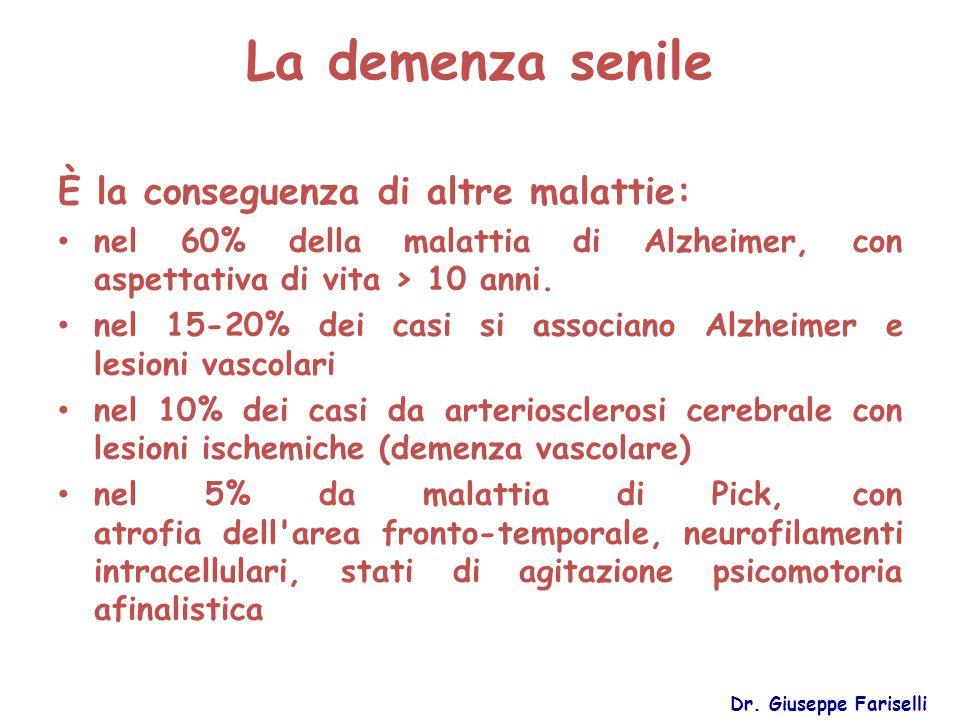 La demenza senile È la conseguenza di altre malattie: