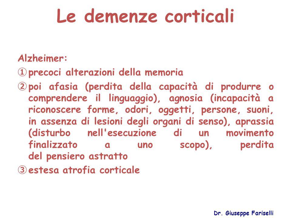 Le demenze corticali Alzheimer: precoci alterazioni della memoria