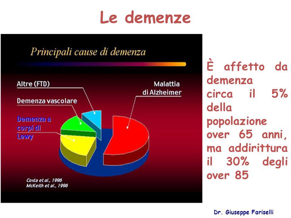 Le demenze È affetto da demenza circa il 5% della popolazione over 65 anni, ma addirittura il 30% degli over 85.