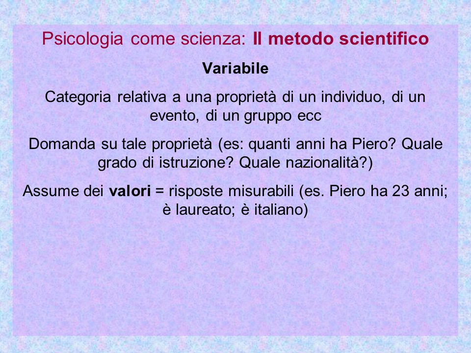 Psicologia come scienza: Il metodo scientifico