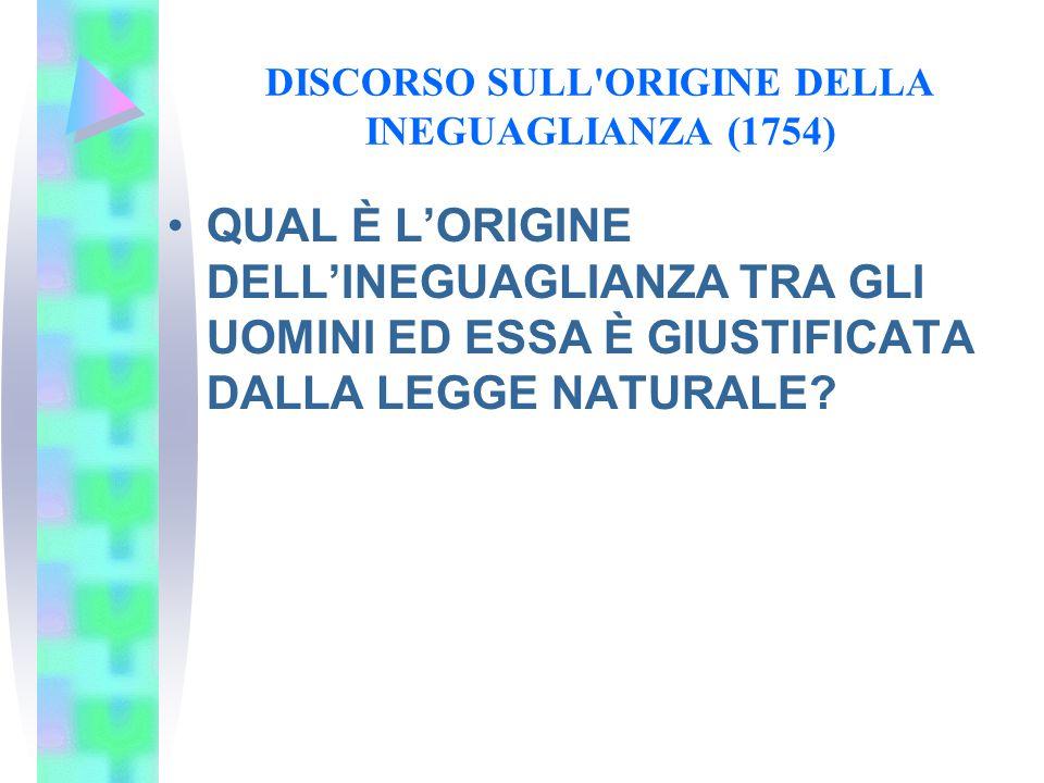 DISCORSO SULL ORIGINE DELLA INEGUAGLIANZA (1754)
