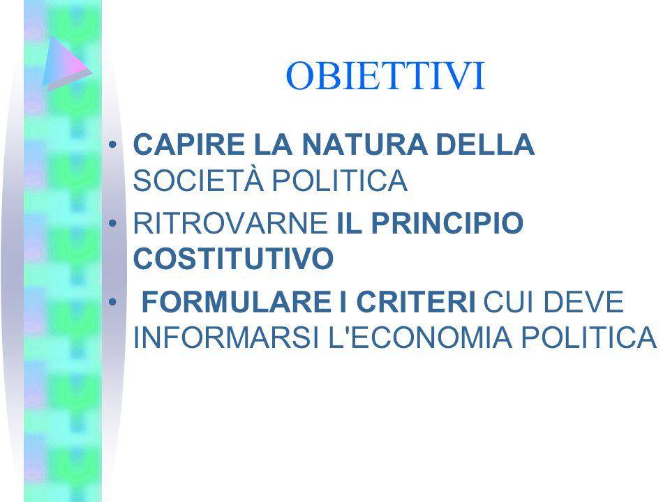 OBIETTIVI CAPIRE LA NATURA DELLA SOCIETÀ POLITICA