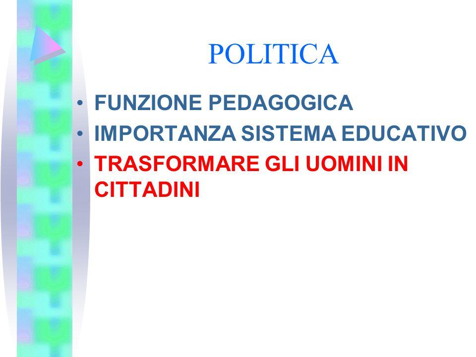 POLITICA FUNZIONE PEDAGOGICA IMPORTANZA SISTEMA EDUCATIVO