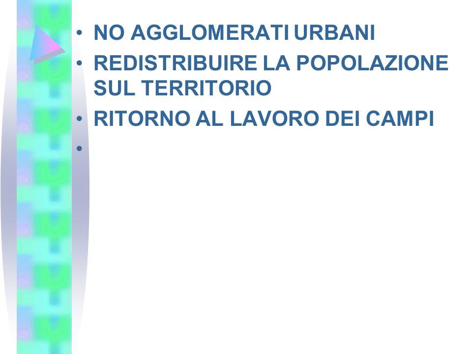 NO AGGLOMERATI URBANI REDISTRIBUIRE LA POPOLAZIONE SUL TERRITORIO RITORNO AL LAVORO DEI CAMPI