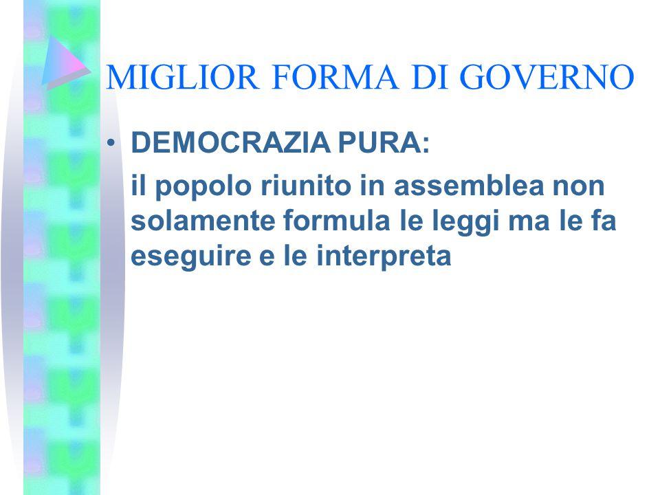 MIGLIOR FORMA DI GOVERNO