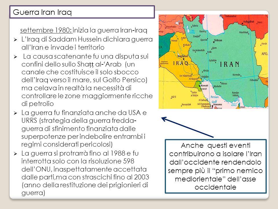 Guerra Iran Iraq settembre 1980: inizia la guerra Iran-Iraq. L'Iraq di Saddam Hussein dichiara guerra all'Iran e invade i territorio.