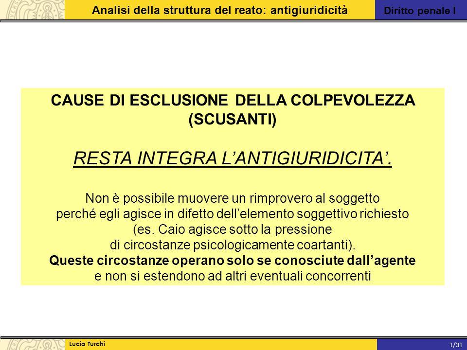 CAUSE DI ESCLUSIONE DELLA COLPEVOLEZZA (SCUSANTI)