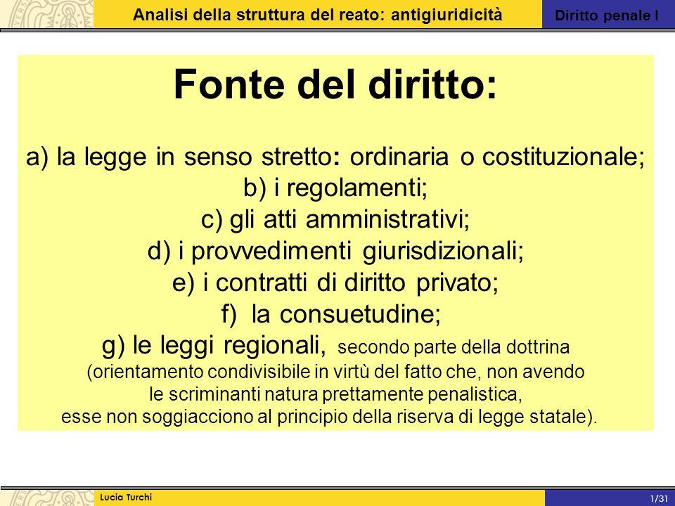 Fonte del diritto: a) la legge in senso stretto: ordinaria o costituzionale; b) i regolamenti; c) gli atti amministrativi;