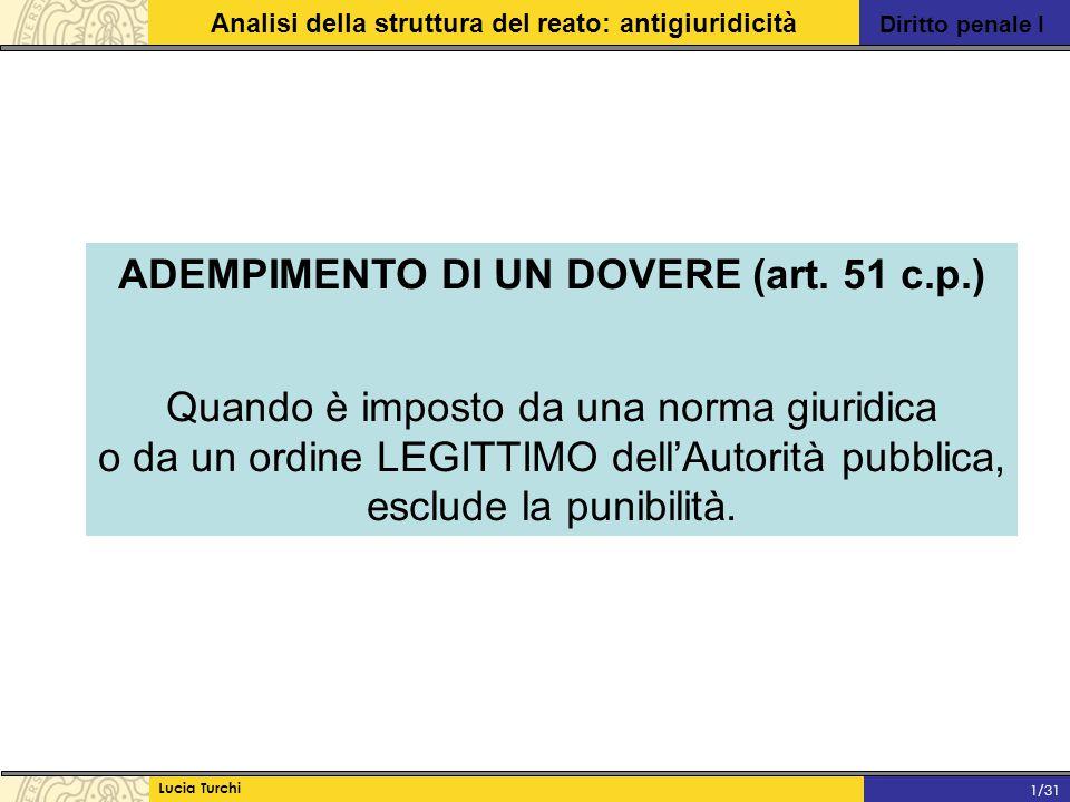 ADEMPIMENTO DI UN DOVERE (art. 51 c.p.)