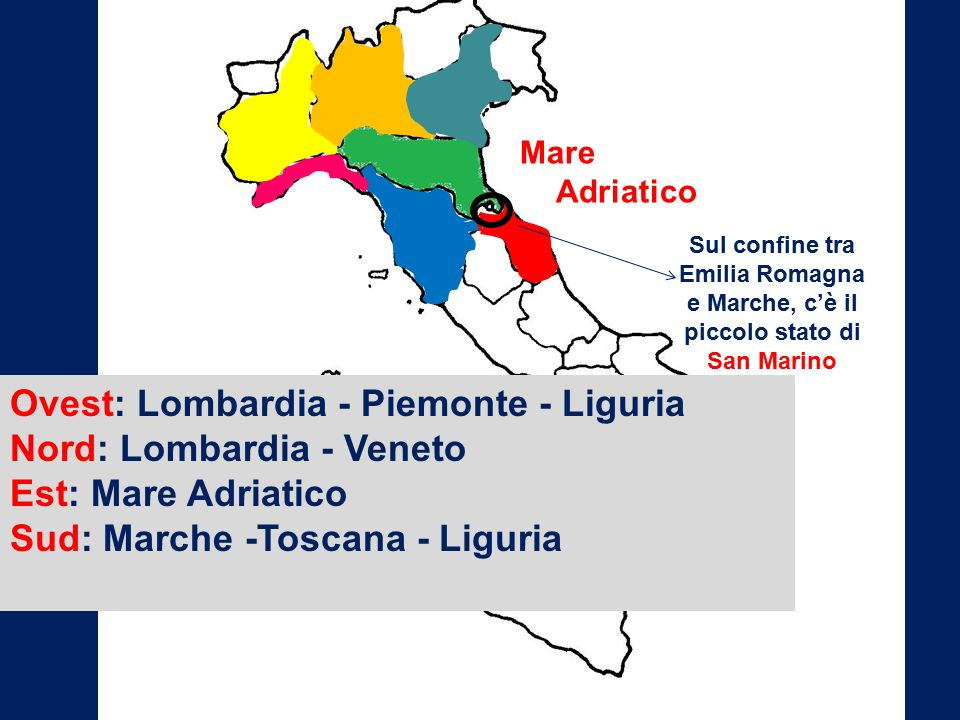 Ovest: Lombardia - Piemonte - Liguria Nord: Lombardia - Veneto