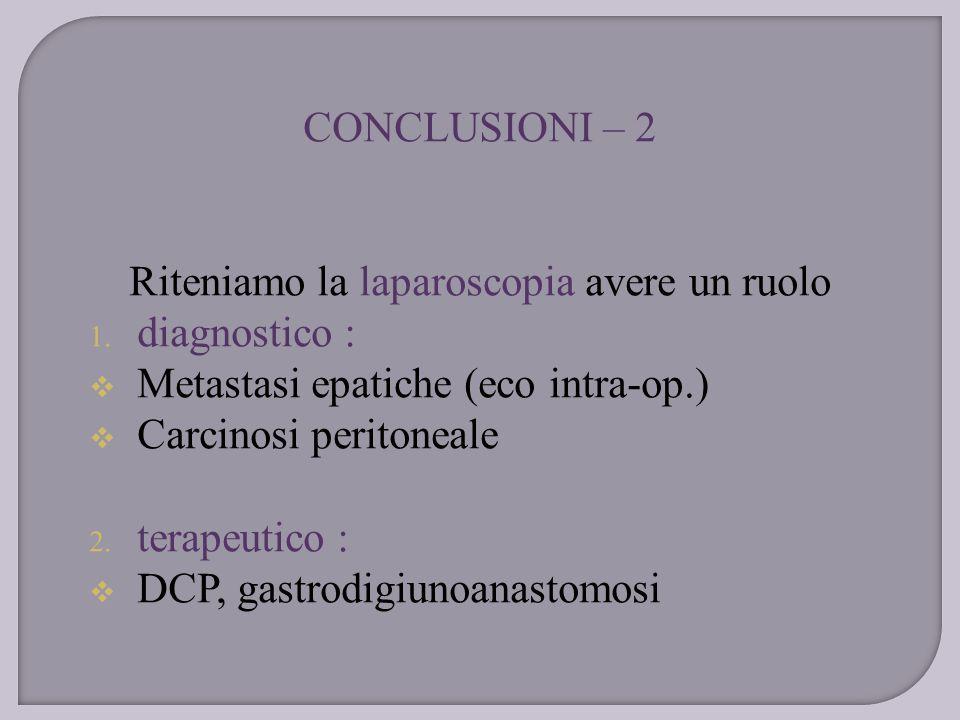Riteniamo la laparoscopia avere un ruolo