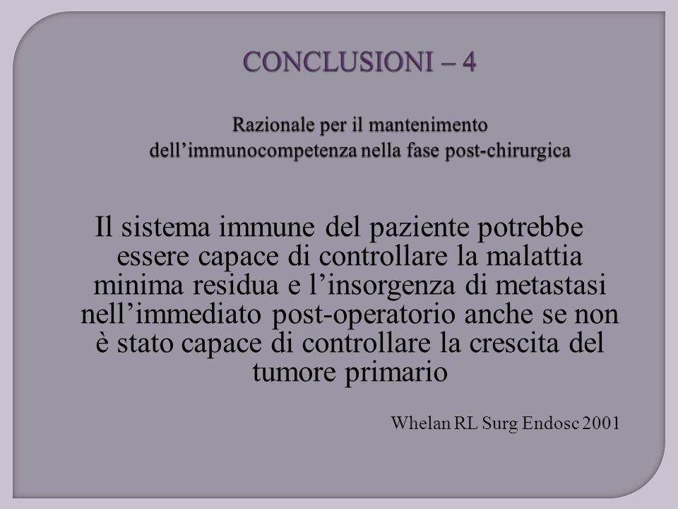 CONCLUSIONI – 4 Razionale per il mantenimento dell'immunocompetenza nella fase post-chirurgica