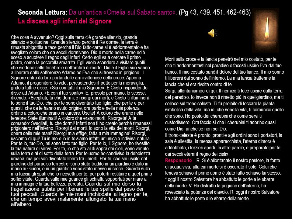Seconda Lettura: Da un antica «Omelia sul Sabato santo». (Pg 43, 439