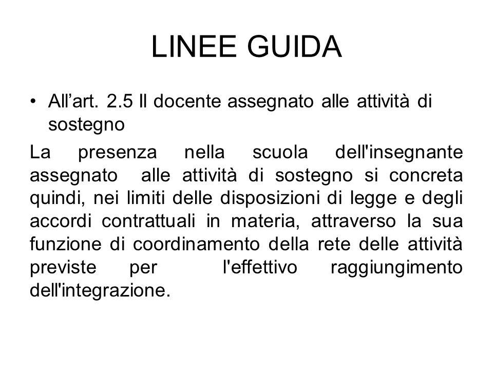 LINEE GUIDA All'art. 2.5 Il docente assegnato alle attività di sostegno.