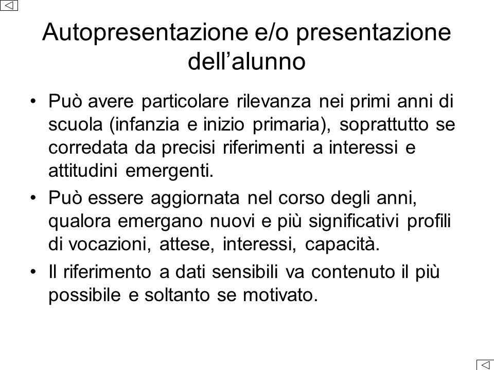 Autopresentazione e/o presentazione dell'alunno